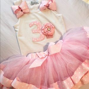 Other - PINK TUTU and WHITE TOP 3rd BIRTHDAY OUTFIT